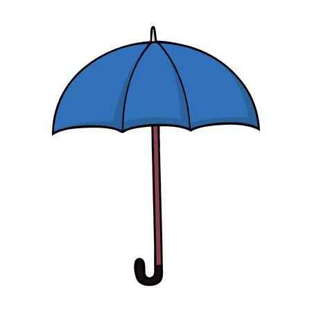 Blauwe cartoonparaplu in cartoonstijl