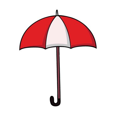 Rode en witte gestreepte cartoonparaplu in cartoonstijl Stock Illustratie