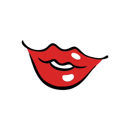 Zacht lachende vrouwelijke mond met rode lippen in cartoonstijl