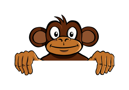 colour image: Smiling monkey holding up an invisible frame Illustration