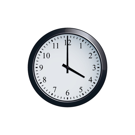 Wall clock set at 4 o'clock Иллюстрация