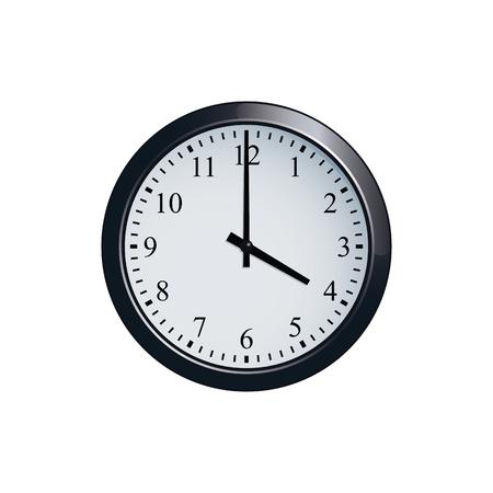 Wall clock set at 4 o'clock Stock Illustratie