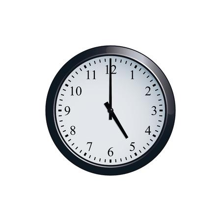 Wall clock set at 5 oclock Иллюстрация