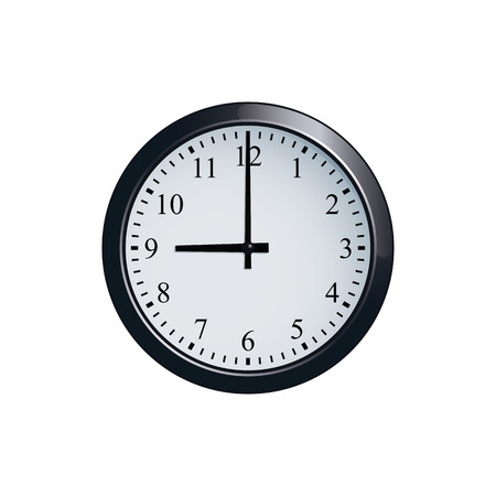 Wall clock set at 9 o'clock