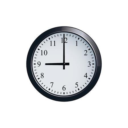 Wall clock set at 9 o'clock 矢量图像