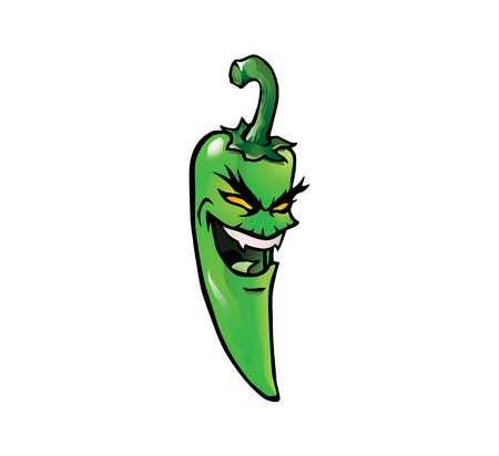 Cartoon illustration of an evil looking green hot chili pepper with a face