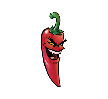 Cartoon illustration of an evil looking red hot chili pepper with a face Illustration