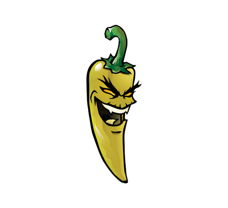 hottest: Cartoon illustration of an evil looking yellow hot chili pepper with a face