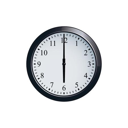 Wall clock set at 6 o'clock Illustration