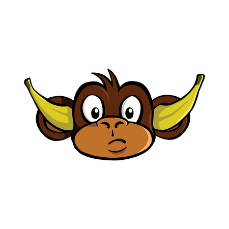 Hear no evil monkey with bananas in his ears Illustration