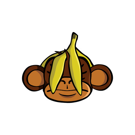 See no evil monkey with a banana covering his eyes Иллюстрация