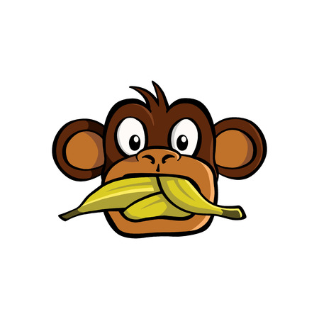 Speak no evil monkey with a mouth stuffed with bananas Ilustração Vetorial