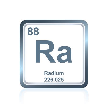 Symbol des chemischen Elements Radium, wie es auf dem Periodensystem der Elemente zu sehen ist, einschließlich Ordnungszahl und Atomgewicht. Standard-Bild - 80538170
