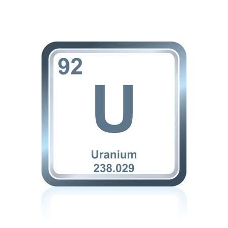 uranium: Symbol of chemical element uranium as seen on the Periodic Table of the Elements, including atomic number and atomic weight.