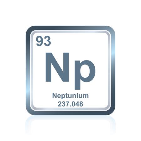 Symbol des chemischen Elements Neptunium, wie auf dem Periodensystem der Elemente, einschließlich der Atomzahl und des Atomgewichts gesehen. Standard-Bild - 80538175
