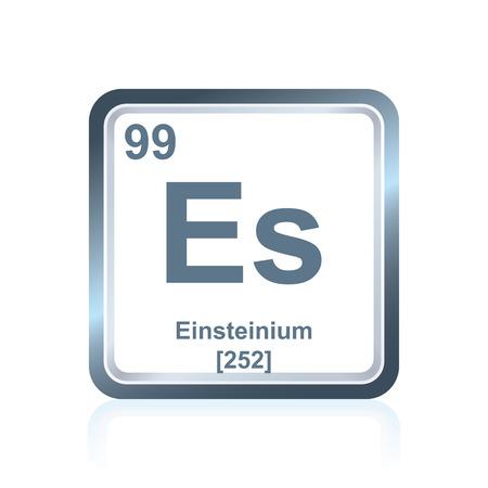 Symbol des chemischen Elements Einsteinium, wie auf dem Periodensystem der Elemente, einschließlich der Atomzahl und des Atomgewichts gesehen. Standard-Bild - 80538180