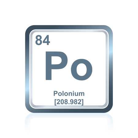 Symbol of chemical element polonium as seen on the Periodic Table of the Elements, including atomic number and atomic weight.
