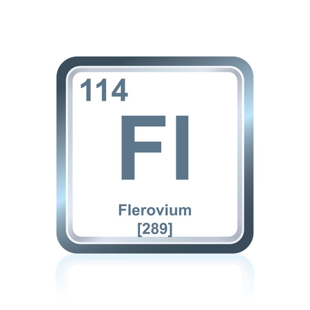 graphic flerovium: Symbol of chemical element flerovium as seen on the Periodic Table of the Elements, including atomic number and atomic weight.