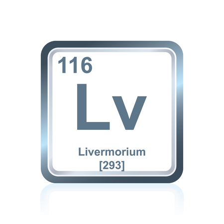 Symbol of chemical element livermorium as seen on the Periodic Table of the Elements, including atomic number and atomic weight. Illustration