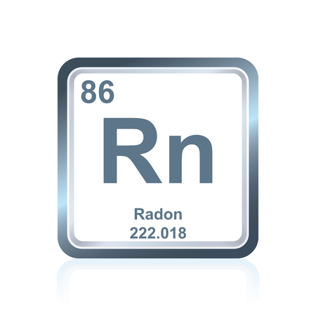 radon: Symbol of chemical element radon as seen on the Periodic Table of the Elements, including atomic number and atomic weight. Illustration