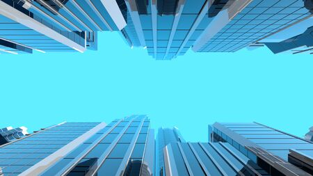 3D illustration of modern corporate skyscrapers with reflective blue windows. The camera looks upwards to the sky from a low angle. Stock Photo