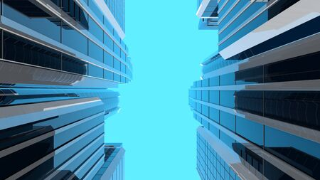 3D illustration of modern corporate skyscrapers with reflective blue windows. Vertical composition. The camera looks upwards to the sky from a low angle.