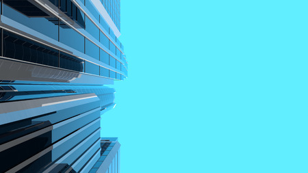 3D illustration of modern corporate skyscrapers with reflective blue windows. Vertical composition with copyspace on the right. The camera looks upwards to the sky from a low angle.
