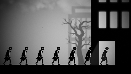 Depressieve bedienden marcheren naar hun dagelijkse kantoorbanen. Conceptuele illustratie met een donker, dystopisch gevoel, zoals George Orwells 1984 of Metropolis. Stockfoto