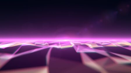 Polygonal sea with waves with a beam of light at the horizon. Magenta version.