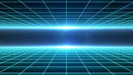 Horizontal matrix grid tunnel in space with stars in the background. Cyan version.