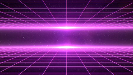 Horizontal matrix grid tunnel in space with stars in the background. Magenta version. 写真素材