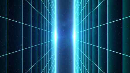 Vertical matrix grid tunnel in space with stars in the background. Cyan version.