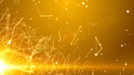 Network of connected lines and particles with a light in the bottom left corner. Golden version.