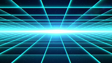 Horizontal cyan grid tunnel with light at the end.