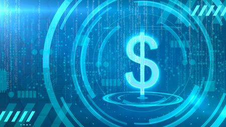 Dollar symbol on a cyan background with HUD elements related to computer technology. 版權商用圖片