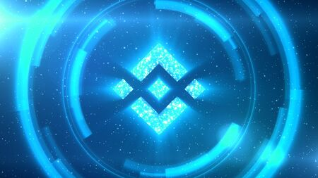 Blue Binance Coin symbol centered on a starscape background with HUD elements.