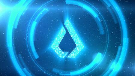 Blue Lisk symbol centered on a starscape background with HUD elements. Foto de archivo