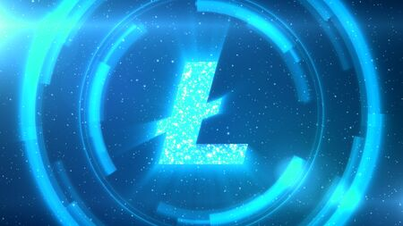 Blue Litecoin symbol centered on a starscape background with HUD elements.