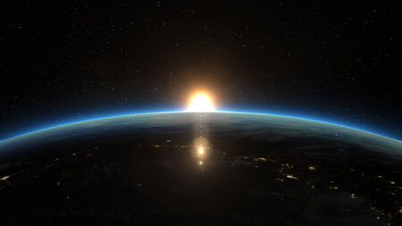 Beautiful view from space of the Sun rising over Planet Earth.