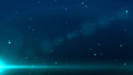 Blue space background with stars and a beam light in the bottom left corner with lens flare. Foto de archivo