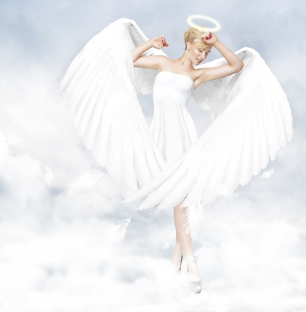 Young woman as an angel photo