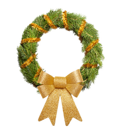 evergreen wreaths: Christmas wreath with big golden bow on white background