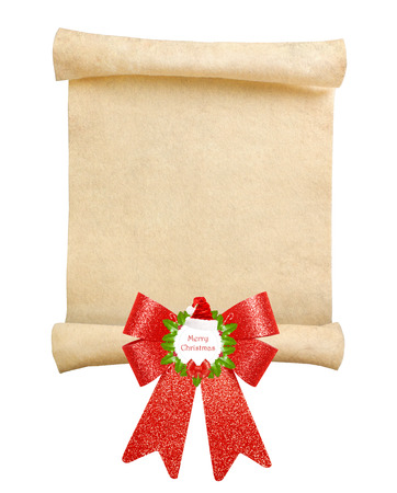 Christmas scroll with big red bow on white background photo