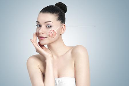 skin problem: Beautiful young brunette woman portrait - skin care concept