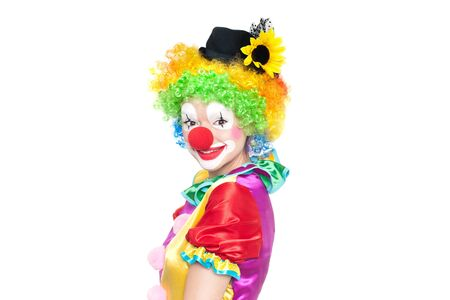birthday clown: Beautiful young woman as funny clown - colorful portrait