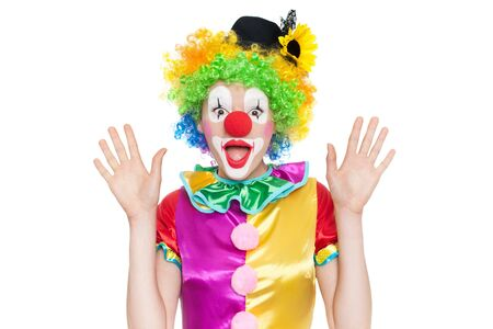 party dress: Beautiful young woman as funny clown - colorful portrait