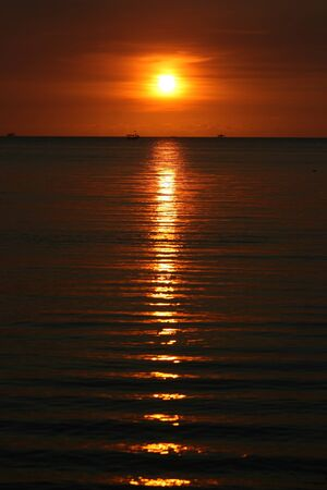 beautiful sunset at beach located on the Promontory of the kartini beach photo