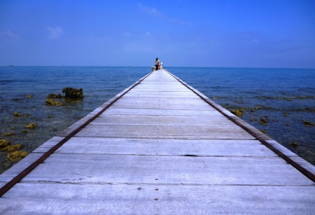 wooden bridge on the coast of panjang island, Jepara photo
