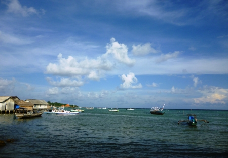 fishing village on the coast of Karimun islands of Java, Jepara, central Java, Indonesia photo