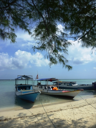 number of boats lined up neatly on the gleyang island, in Karimun Java Stock Photo - 13989079